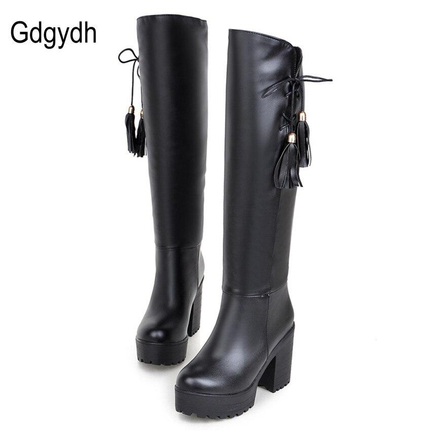 Gdgydh Hot Sell Autumn Winter High-leg Boots Female Thick Heel Platform Women Knee High Tassel Boots Black White Plus Size 34-43<br><br>Aliexpress