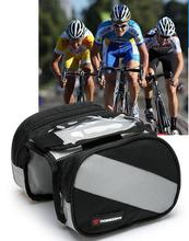 "Mountain Road Bike Bag Touchscreen Bicycle Bag Double Pouch Cycling Front Frame Tube Bag Pannier for 4.3"" Phone(China)"