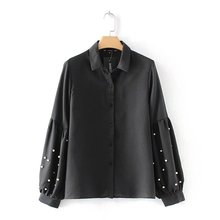 New Fashion Women Black Color Pearl Beading Deco Sleeve Turn Down Collar Shirt Blouse Ladies Euro Chic Lantern Sleeve Blouses(China)
