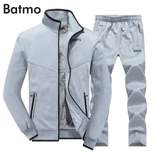 Batmo 2017 winter cotton liner gray jacket men, set men coat+pants sets casual sweatshirt hoodies,navy blue,black Size M-3XL