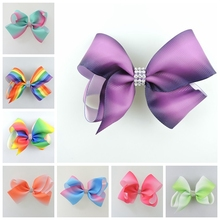 50pcs 11cm center Jeweled Pastel flora ombre ribbon hair bows Alligator clips Rainbow Dance Pageant  Accessories HD3477