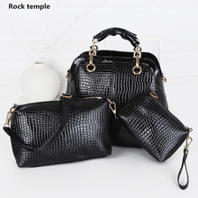 Luxury Women Crocodile Handbags High Quality Double Zipper Leather Embossed Tablet Sac a Main Alligator Designer Shoulder Bag(China)