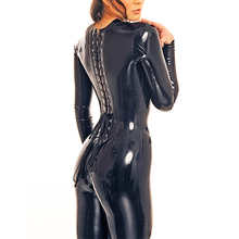 Buy 0.6MM Latex Fashion Corsetly Catsuit Crotch Zip Latex Rubber Girls Outfit