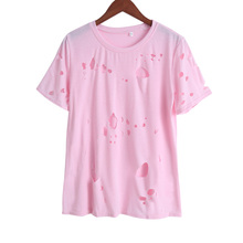 2017 Fashion Summer Holes T Shirt Women Cotton Short Sleeve Ripped Tops Shirts Casual Loose T-Shir Woman Clothing wy0035