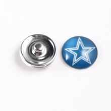 Dallas Cowboys 18mm Glass Snap Button Jewelry NFL Football Team Faceted Glass Snap Fit Snap Bracelet Fashion Snap Jewelry