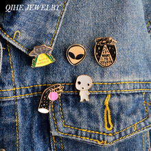QIHE JEWELRY 5pcs/set I want to believe ufo alien X-files enamel pin badge UFO pin Alien pin Funny Space ET Galaxy gifs(China)