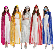 Sexy Cloak Costume For Woman Halloween Fancy Dress Party Cape Cosplay Costume Party Blue Red Silver Rose Yellow Cloak