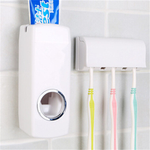 New 1 Pcs Plastic Tooth Brush Holder Automatic Toothpaste Dispenser + 5 Toothbrush Holders Wall Mount Bathroom Accessories Tools(China)