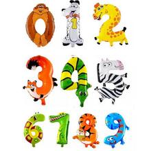 1PCS blow up 16 inch Animal Number Foil Balloons Kids Ball Toys(China)