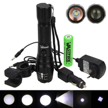 Multi-functional 2000Lm Tactical Flashlight Zoomable XML T6 LED Rechargeable Torch Cycling Light +Battery+Mount(China)