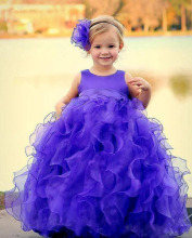 Cute Tutu Ball Gown Kids Toddler Pageant Dresses With Jewel Neckline Ruffles Skirt Floor Length Organza Purple Flower Girl Dress