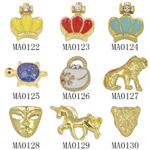 10pc/bag Unique 3D Metal Nail Art Decorations Gold Crown Horse Tortoise Charm Nail Cell Phone Decoration DIY Beauty Salon Supply(China)