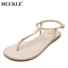 MCCKLE Women Shoes Fashion Clip Toe Summer Sandals Ankle Strap Flat Metal Buckle Strap Woman Beach Thong Sandals Lady Footwear