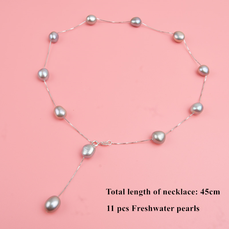 ASHIQI Real Pure 925 Sterling Silver Chain Pendant Necklace For Women 9-10mm White Gray Natural Freshwater Baroque Pearl Jewelry 8