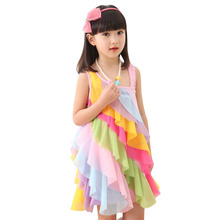 Girls Dress Rainbow Smocked Halter Children Clothing SZ 2017 Summer Princess Wedding Party Dresses Girl Clothes Size 2-8
