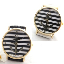 2017 Unisex Women Men Black and White Cross Stripes Anchors Analog Quartz Wrist Watch Faux Leather Band Fashisual(China)