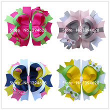 1.99USD/PC 2016 5 Inches Luxury Crystal Hot Pink Boutique Girls Bows With 6cm Hair Clips Stacked Bows For Girls Hair Accessories(China)