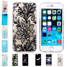 Skid Clear Wave Frame Transparent Pattern Soft TPU Case For iPhone 6 6S 4.7 inch Back Protect Skin Rubber Phone Cover Silicone