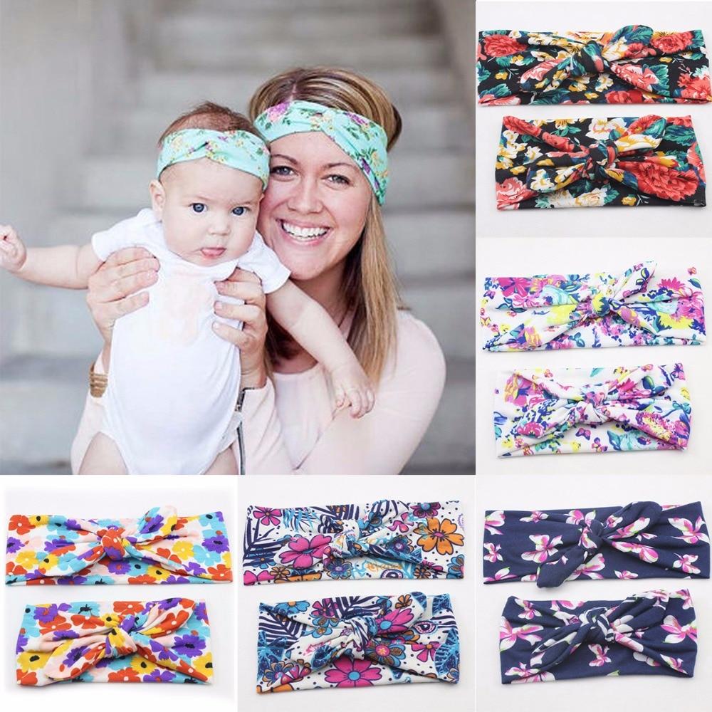2PCS//Mom and Me Rabbit Ears Headband Top Knotted Elastic Bowknot Matching bans