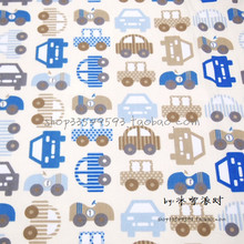 140X100cm Blue Khaki Cars Beige Background Cotton Fabric for Boy Clothes Curtain Bedding Sets Quilting Cushion Cover DIY-AFCK793(China)