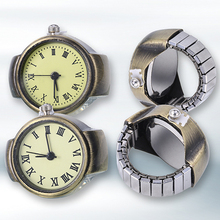 Women's Vintage Punk Style Creative Round Alloy Quartz Finger Ring Watch(China)