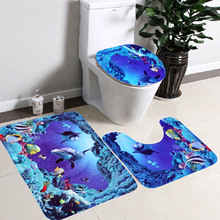3 Pcs Sea World Dolphin Style Non-slip Bathroom Toilet Seat Lid Cover Pedestal Rug Carpet Floor Mat Set