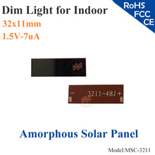 32x11mm 1.5V 7uA dim light Thin Film A-Silicon small Solar Cell ITO glass for indoor Product,calculator,toys,0-1.2V battery