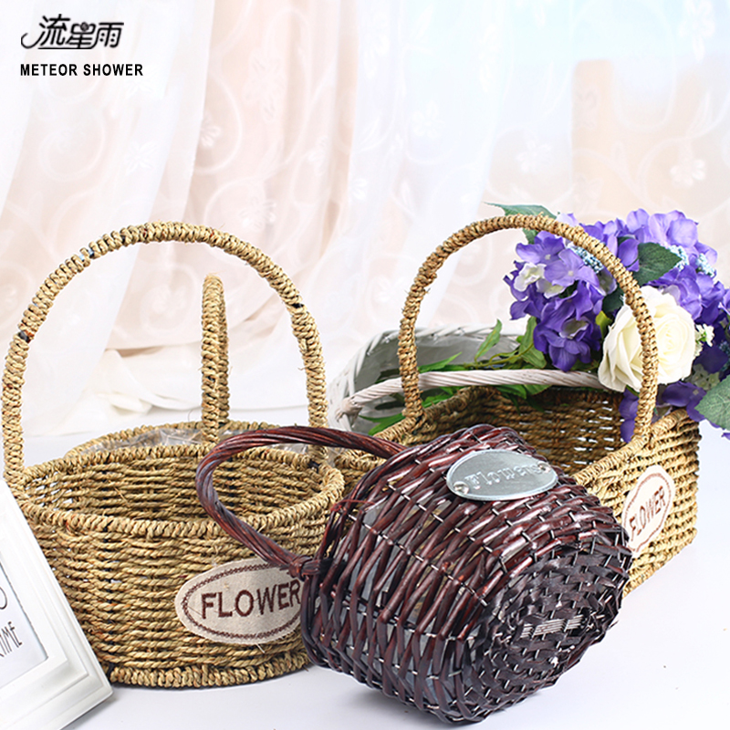 Online buy wholesale wicker easter basket from china wicker easter hand held flower basket brocade rattan braid series bamboo flower arrangement flower basket creative supplies negle Choice Image