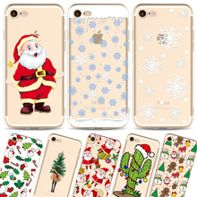 Slim TPU Phone Case For Apple iphone 7 8 Fashion Christmas Tree Painting Back Cover Santa Claus Phone Capa Snowman Accessories(China)