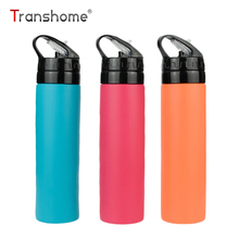 Transhome Collapsible Water Bottle 600ml Creative Foldable Silicone Drink Sport Water Bottle Camping Travel Bicycle Tour Plastic