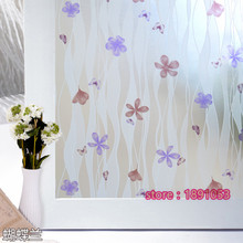 45x200cm PVC butterfly orchid pattern living room bathroom bathroom window glass film opaque sliding door foil N12(China)