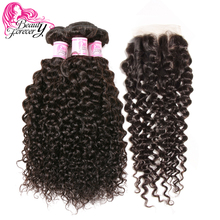 Beauty Forever Malaysian Curly Hair With Closure Three Part 100% Remy Human Hair Weave Bundles(China)
