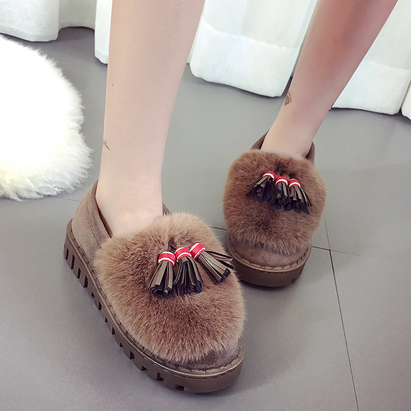 Fashion 2016 Brand U With Fur Women Loafers Slip On Women Flats Tassel Winter Casual Ladies Warm Oxfords Shoes for Women<br><br>Aliexpress