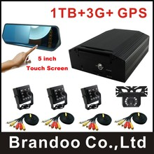 3G 4CH HDD CAR DVR kit, 4 cameras recording, 1TB HDD+3G+GPS function, for taxi,bus,train,truck used, brandoo hot sale