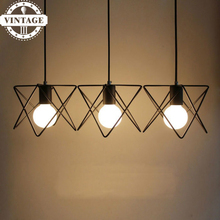 Fashion Contemporary American Country style E27 indoor lighting iron painted pendant light 16 Variety iron cage light fixture(China)