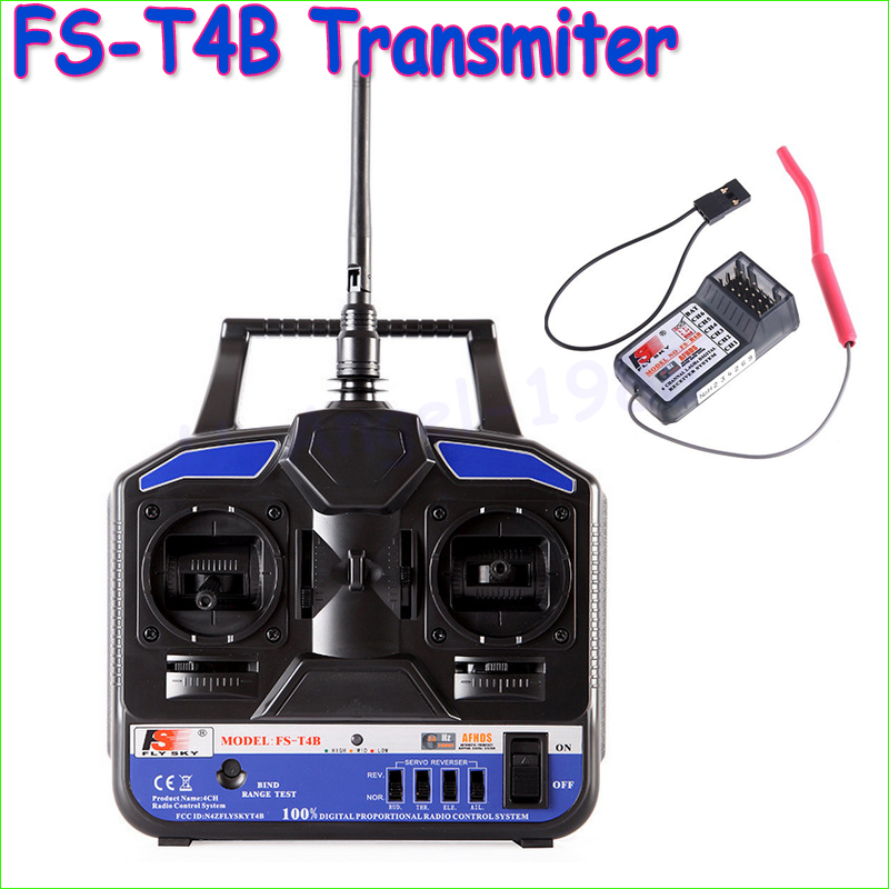 Wholesae 1pcs Original High Quality 2.4G Flysky FS-T4B 4CH Radio Model RC Transmitter &amp; Receiver Heli/Airplane<br>