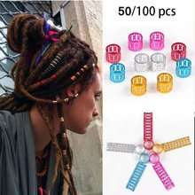7colors 50/100pcs Colorful Hair Braiding Beads Adjustable Hair Decoration Micro Rings Braid Cuff Clip(China)