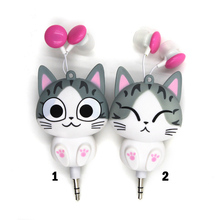 2016 Cute Earphone Cheese Cat Cartoon Automatic Retractable Headphones for Mobile Phone Cartoon sport Headphone