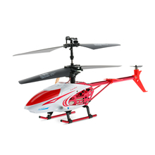 RC Toys for Children QY66-X07E 3.5CH Infrared Remote Control Letters Patterns LED Alloy RC Helicopter Drone Flight Red Blue