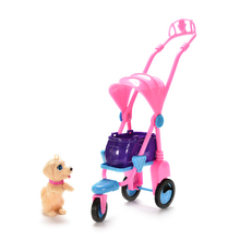 1 Set Doll House Decor mini Plastic Pet Dog with Stroller For Doll Accessories(China)
