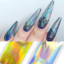 1 Sheet Laser Ultra Thin Gold Silver Stripe Line Sticker Holo Nail Art Stickers DIY Adhesive Strip Tape Nail Art Decor LA317
