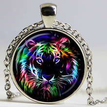 Fashion Jewelry America Leopard Pendant Necklace Wildlife Jewelry Panther Necklace Animal Choker Jewelry Glass Dome Neckless