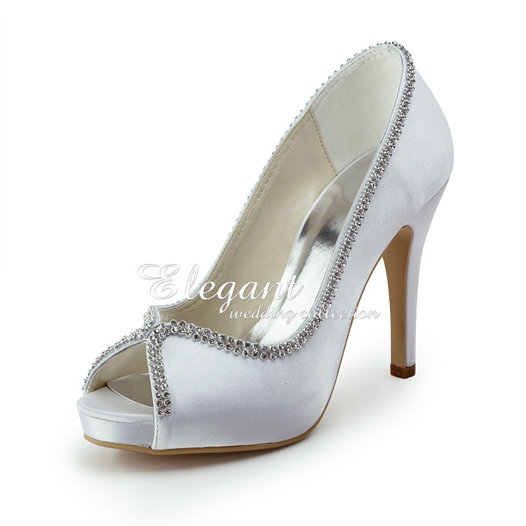 Two Tone Peep Toe Bowknot Decor Satin Women Wedding Shoes ladies evening party shoes Bridal Pumps<br><br>Aliexpress