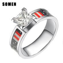 6MM American Flag Cubic Zirconia Titanium Women Rings Elegant Championship Love Engagement Ring Camo Wedding Band Female Jewelry(China)