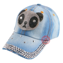 promotion boy girl kids character panda rhinestone baseball cap new custom baby children brand casquette outdoor snapback hat