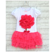 fashion girls' dresses cotton summer one-piece dress baby girl clothes kids big flowers dress Retail