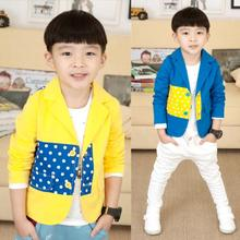 Polka Dotted Fashion Boys Blazers Kids Jackets Children Outerwear Clothes Suits Toddlers New 2016 T2/0522DTAE