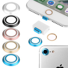 Metal Camera Lens Protective Protector + Home Button Sticker + 8 Pin Port & Earphone Headphone Dust Plug For iPhone 7 / 7 Plus