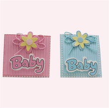 (30pcs) Lovely Candy Bag New Baby Shower Blue Pink Boy Girl Baptism Event Party Supplies Paper Accessories Guest Favors Gift Box