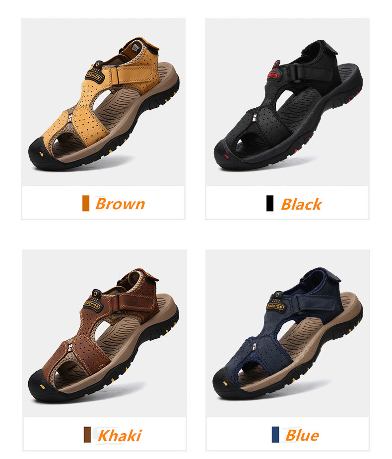 STS BRAND 2019 Summer Genuine Leather Sandals Men Casual Shoes Sneakers Plus Size Beach Sandals for Man Outdoor Casual Sneakers (3)